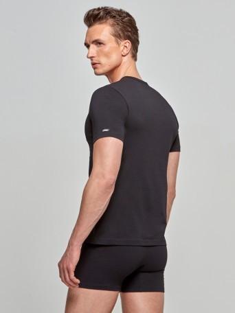 V-neck T-shirt Cotton Stretch